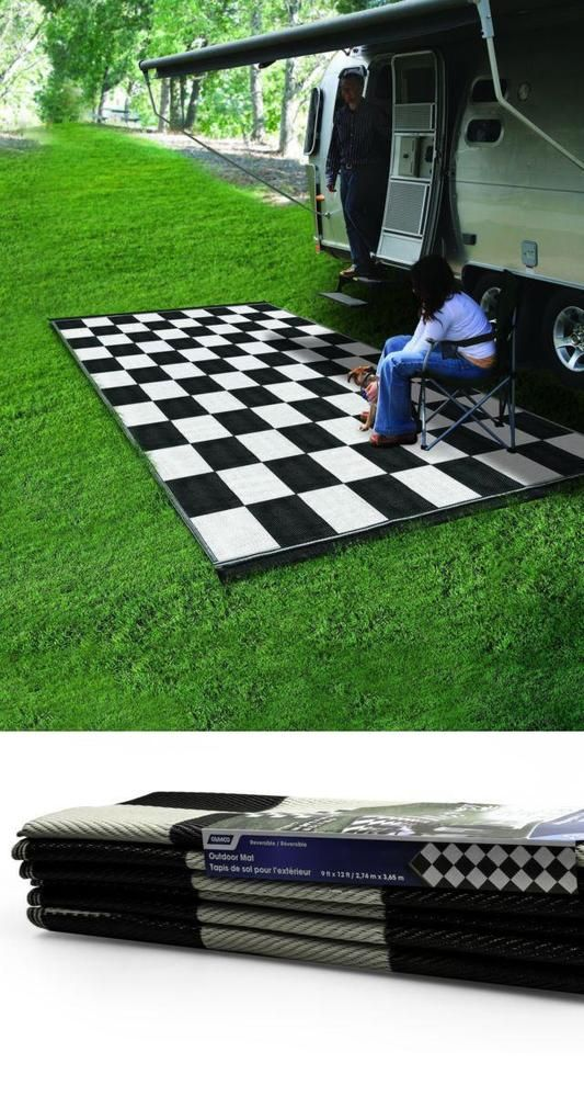 Outdoor Awning Rv Camper Rug Picnic Garden Mat 9 X 12 Reversible Black White Camco Outdoor Mat Camping Rug Camping Mat