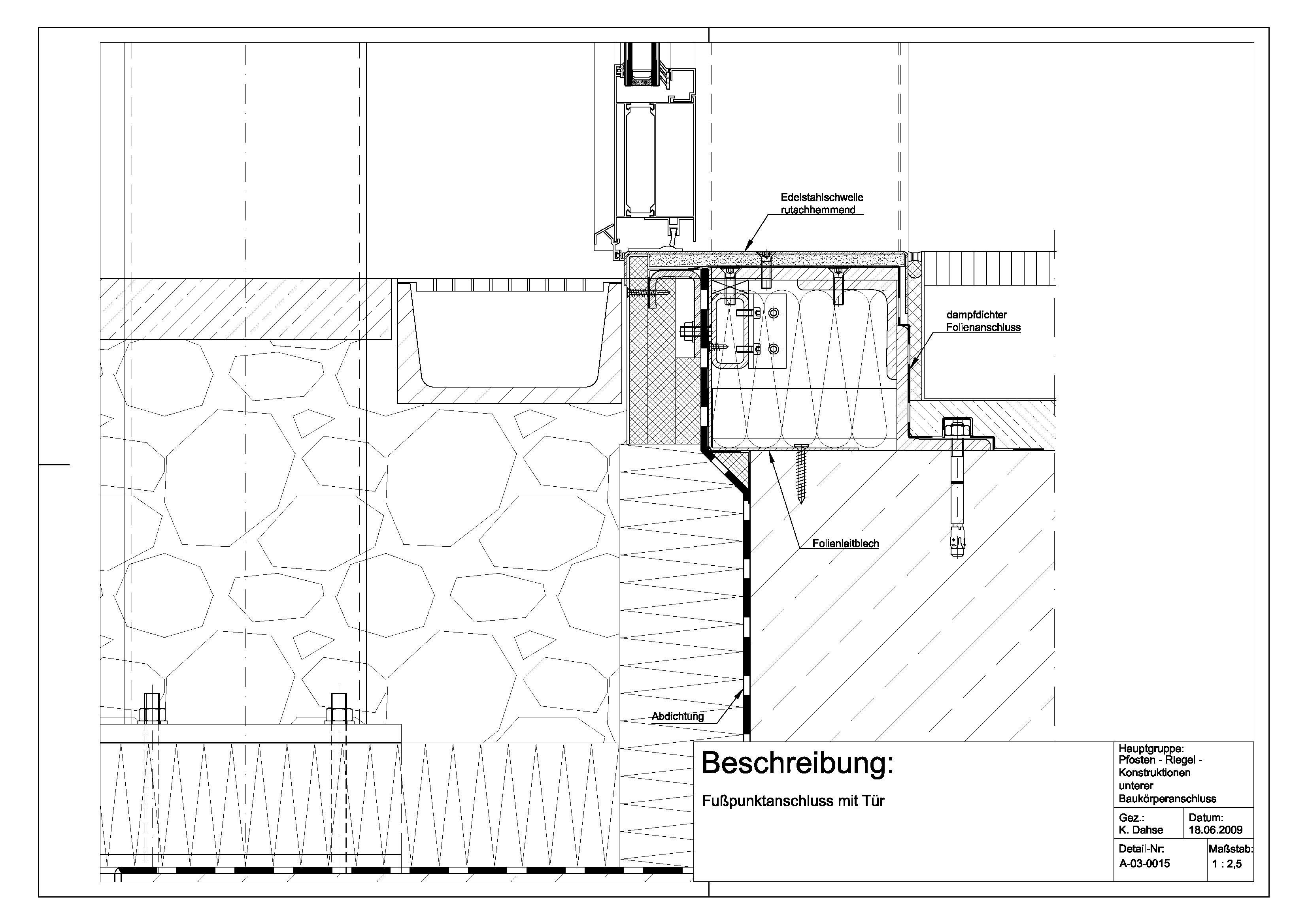 Eingangstür detail schnitt  A-03-0015 Türfußpunktanschluss | Details | Pinterest | Pfosten ...