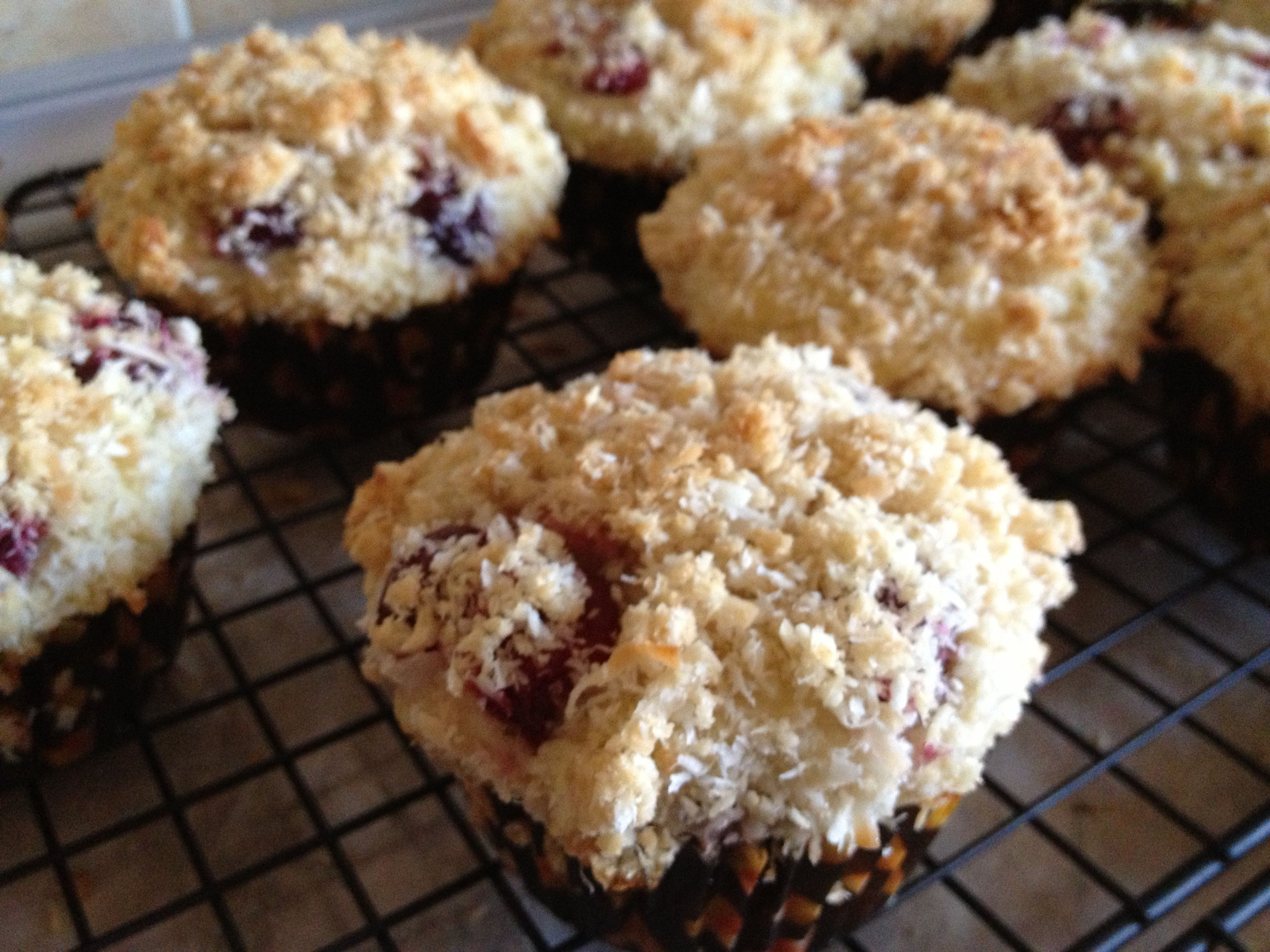 12 Sour cherry muffins with coconut streusel  Streusel: mix 1/3 cup sugar + 1/3 flour. Rub in 1/4 cup cold butter. Stir in 1/2 cup sweetened flaked coconut. Muffins: stir together 2 cups flour + 1/2 cup sugar + 4 tsp baking powder + 1/2 tsp salt. In other bowl whisk together 1/4 cup butter (melted) + 2 large eegs + 1 cup milk. Stir in the dry mixture. Spoon batter into each muffin cup filling 1/3 full. Drop few cherries. Spoon more batter. Sprinkle 1 TBSP of the streusel. Bake at 375F for…