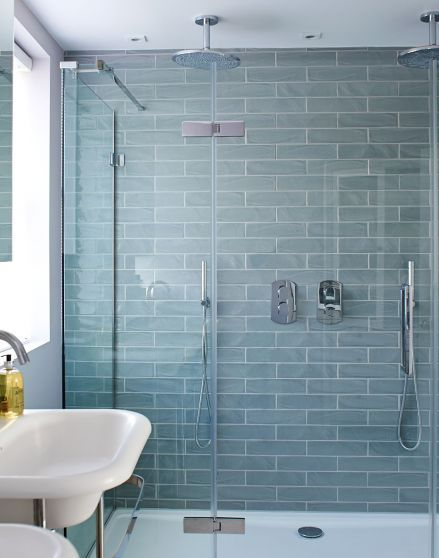 Looking For Shower Ideas Check Out This Double Shower With Pale Blue Tiles For Inspiration Blue Bathroom Tile Bathroom Tile Designs Aqua Bathroom