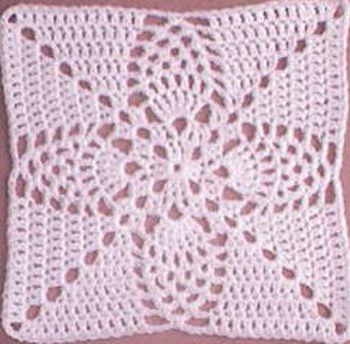 Pineapple Granny Square: free pattern ༺✿Teresa Restegui http://www ...