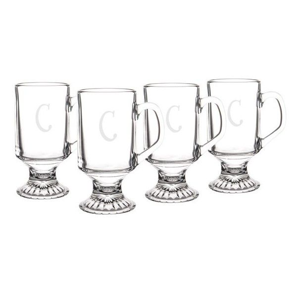 Cathy'S Concepts Monogram Irish Coffee Mugs (£39) ❤ liked on Polyvore featuring home, kitchen & dining, drinkware, glass mugs, glass tea mugs, tea mug, coffee tea mugs and glass drinkware