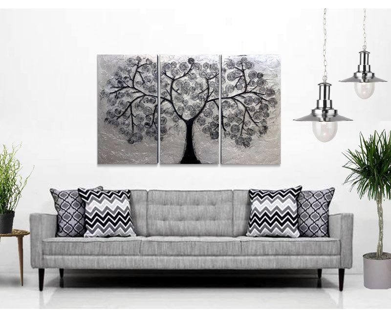 Cuadro triptico abstracto realizado en relieve y plateado - Cuadros para habitaciones ...