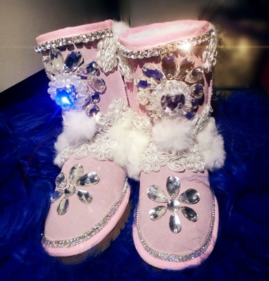 100.00$  Watch here - http://ali3in.worldwells.pw/go.php?t=32292925461 - Sweets ! handmade flower gem rhinestone beaded lace rabbit fur princess high cowhide female snow boots