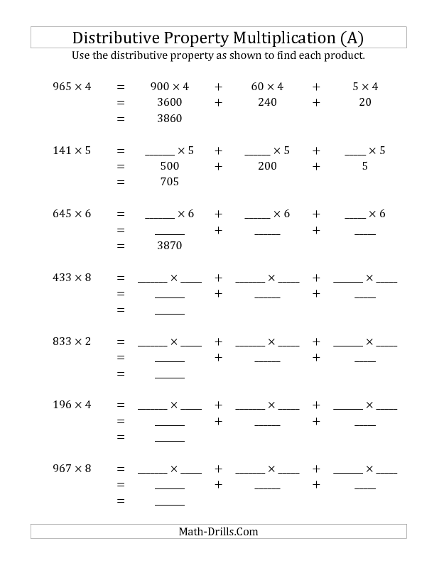 New 2013 05 22 Multiply 3 Digit By 1 Digit Numbers Using The Distribut Distributive Property Of Multiplication Distributive Property Multiplication Worksheets