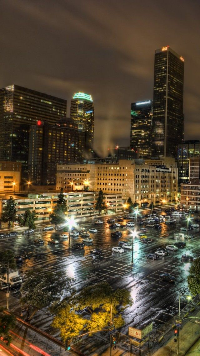 Los Angeles, night, USA iPhone 5 wallpapers, backgrounds
