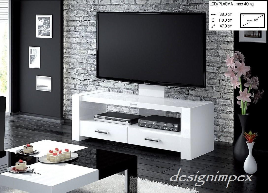 Design Fernsehtisch H-555 Weiß Hochglanz TV Schrank TV Möbel TV Rack ...
