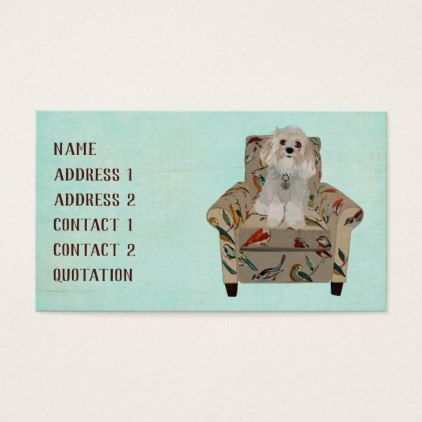 DOG  BIRD CHAIR Business Card - pattern sample design template diy - business quotation sample
