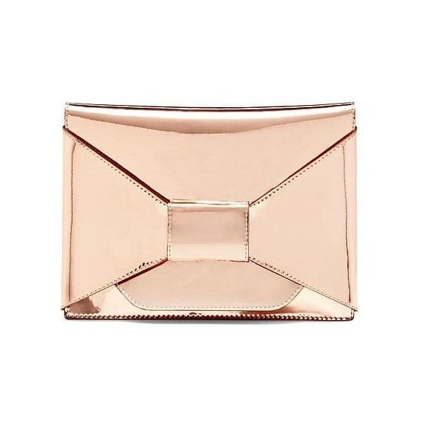 Banana Republic Bow Metallic Clutch (€39) ❤ liked on Polyvore featuring bags, handbags, clutches, rose gold, leather handbags, bow purse, leather clutches, pink handbags and pink purse