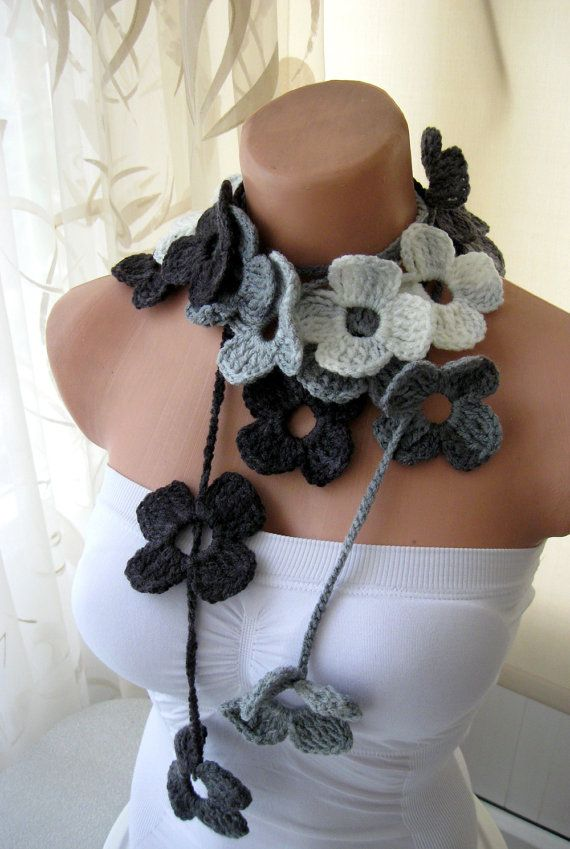 Black Grey White Flower Hand Crochet Lariat Scarf
