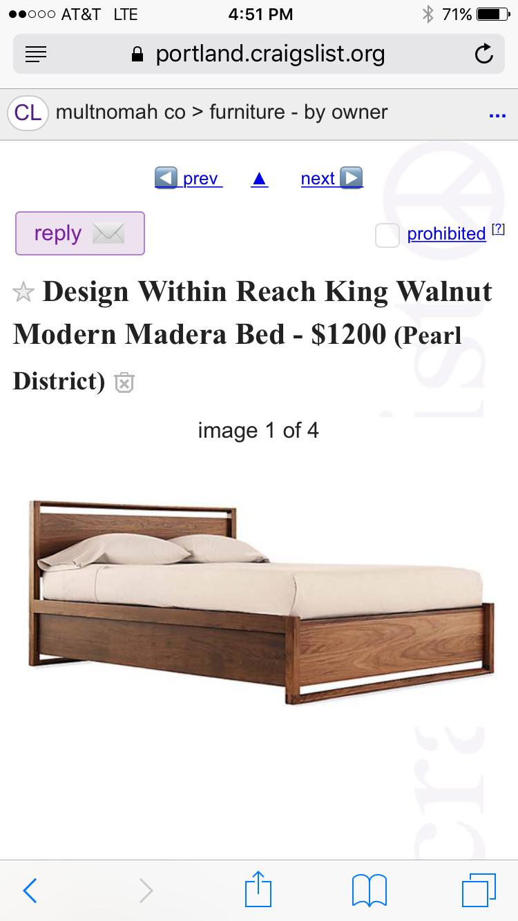 Https Portland Craigslist Org Mlt Fuo D Design Within Reach King 6610990041 Html Design Within Reach Design Furniture
