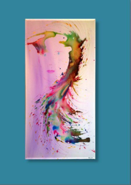 Toile abstraite marianne encres aquarelles multicolore peintures par les surprises de - Peinture qui cache les defauts ...