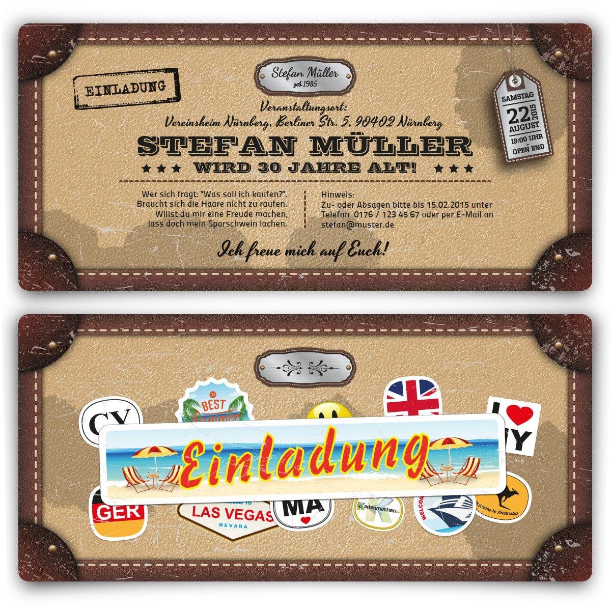 Einladungskarten Als Reisekoffer Geburtstag Einladung Geburtstagseinladung Birthday Invitation Reise Einladungen Einladungskarten Online Einladungskarten