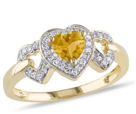 Diamond 2/5 CT. T.W. Citrine and 1/8 CT. T.W. Diamond Heart Ring in 10K Yellow Gold (GH) (I2:I3)