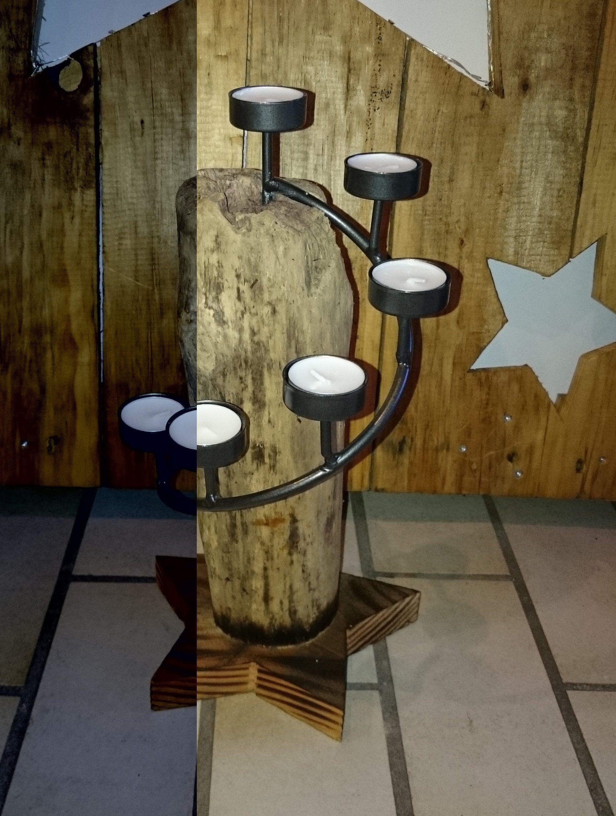 Kerzenhalter, Palettenholz, Treibholz, Lampe, Nordsee…