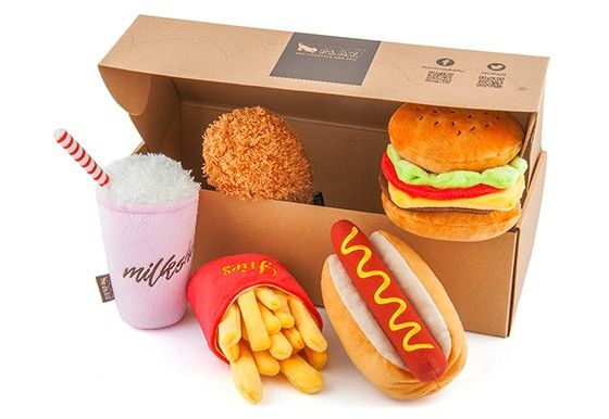 Better together! Purchase P.L.A.Y.'s tasty American Classic Fast Food Toy Set for your dog and save!