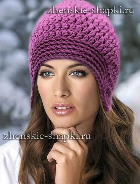 связать шапку с ушками спицами женскую