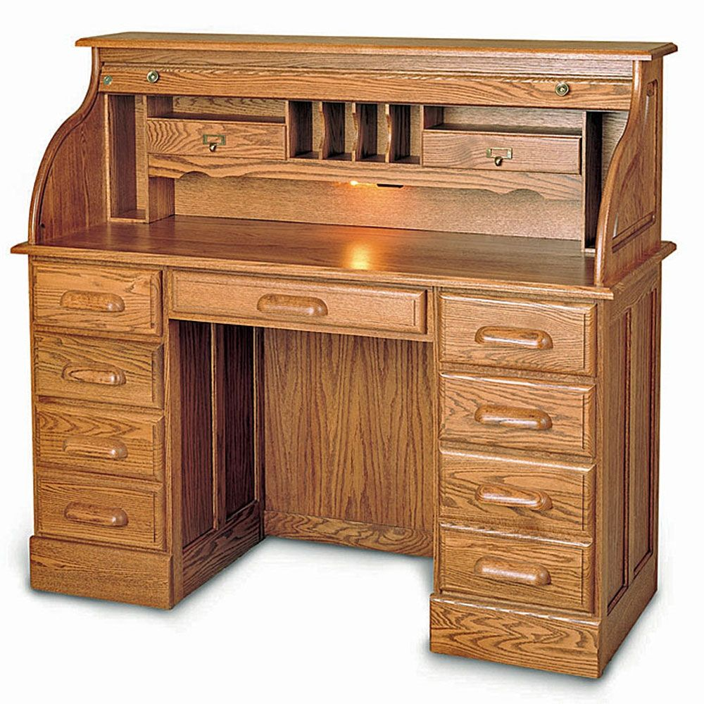 Double Pedestal Solid Wood Roll Top Desk 51 W X 22 D I Ve Always Wanted One Of These Roll Top Desk Bookcase Woodworking Plans Woodworking Desk Plans
