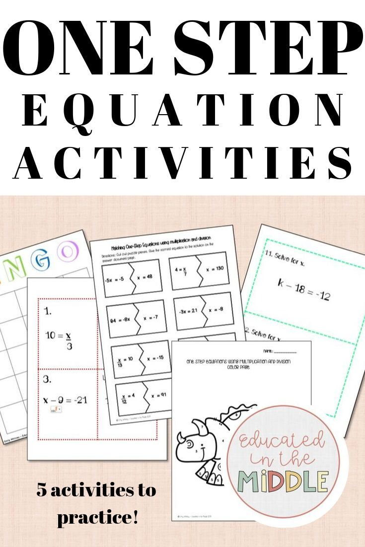 One Step Equation Activities One step equations, Math