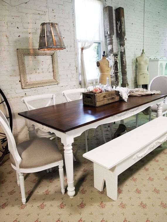 Beau White Dining Room Set With Dark Wood Table Top. Mis Matched Chairs
