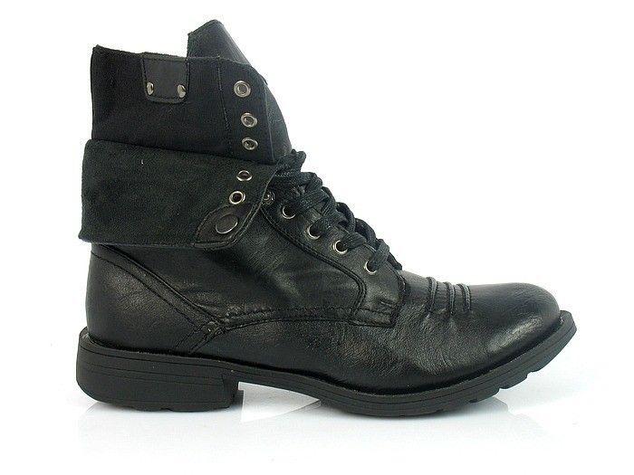 Glany Meskie Czarne Wywijane Ocieplane Buty Meskie Trapery Trekkingowe Buty Meskie Polbuty Polbuty Jesienne Zimowe 17206 Buty Hiking Boots Shoes Boots