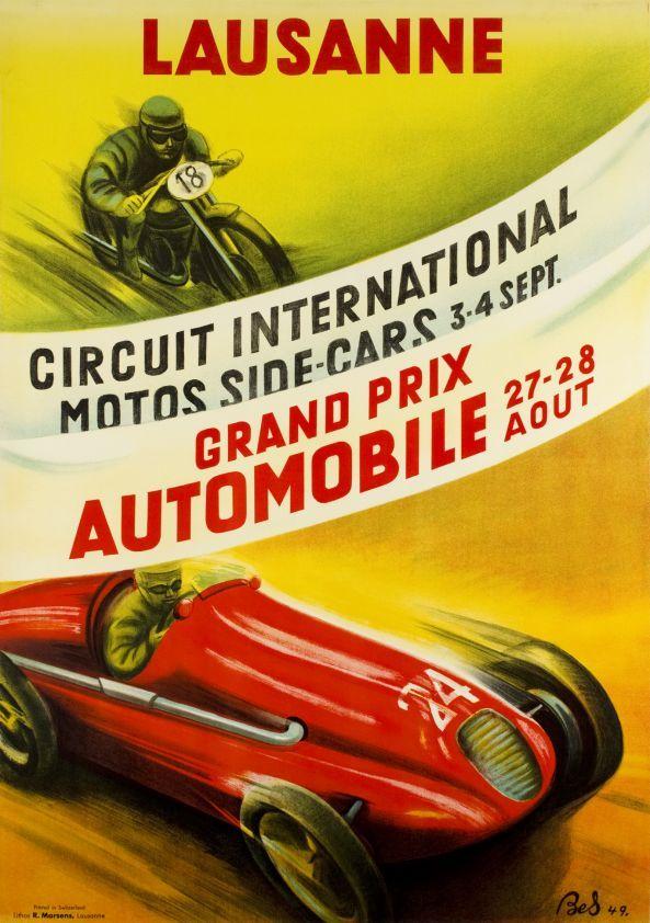 Lausanne, Grand Prix Automobile Août, Circuit International Motos Side-Cars Septembre 1949. Bes.