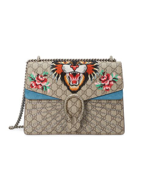 d80fc896380b Gucci Dionysus Embroidered GG Supreme Shoulder Bag - Farfetch