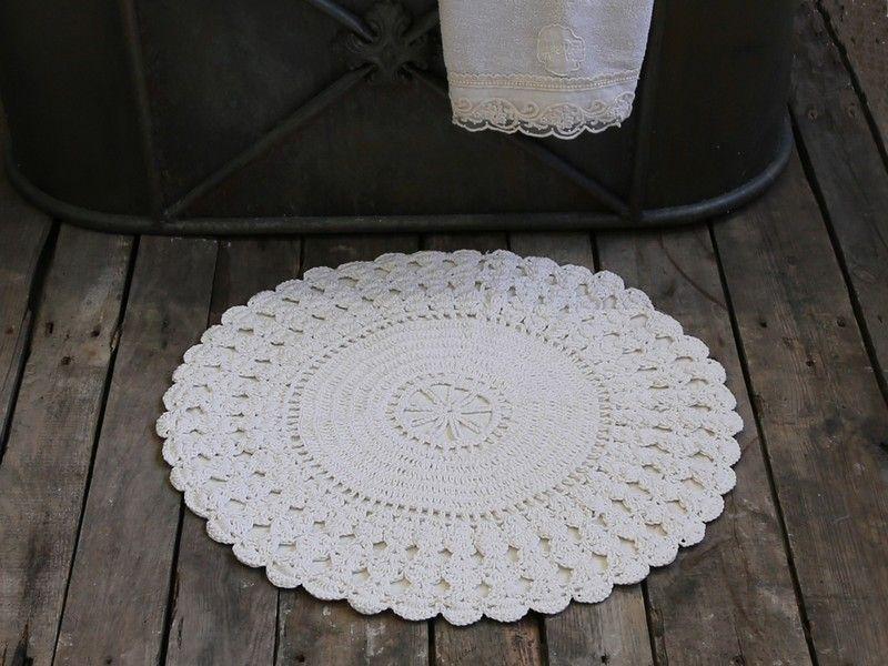 Tapis Salle De Bains Rond Crochet Bath Mat Crochet Shabby Chic Deux Couleurs Tapis Salle De Bain Shabby Tapis