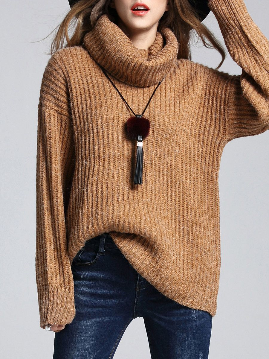 Camel Turtleneck Knitted Simple Sweater | Camels, Winter and Wardrobes