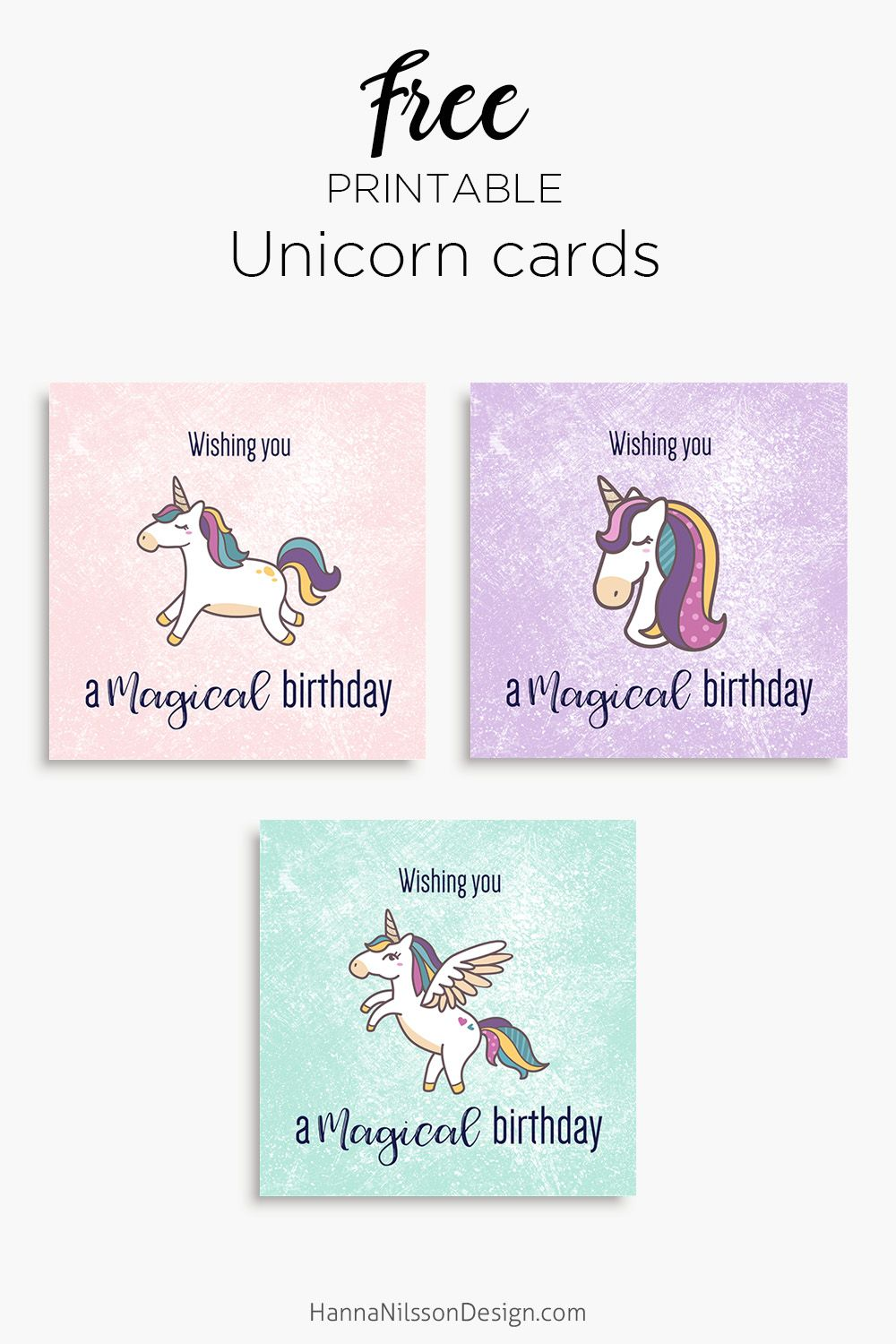 magical unicorn birthday cards | free printable | download