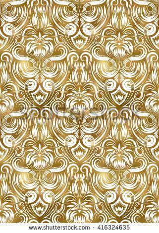 Golden White Vintage Seamless Pattern Gold Royal Exotic Wallpaper Arabic Background Ornament