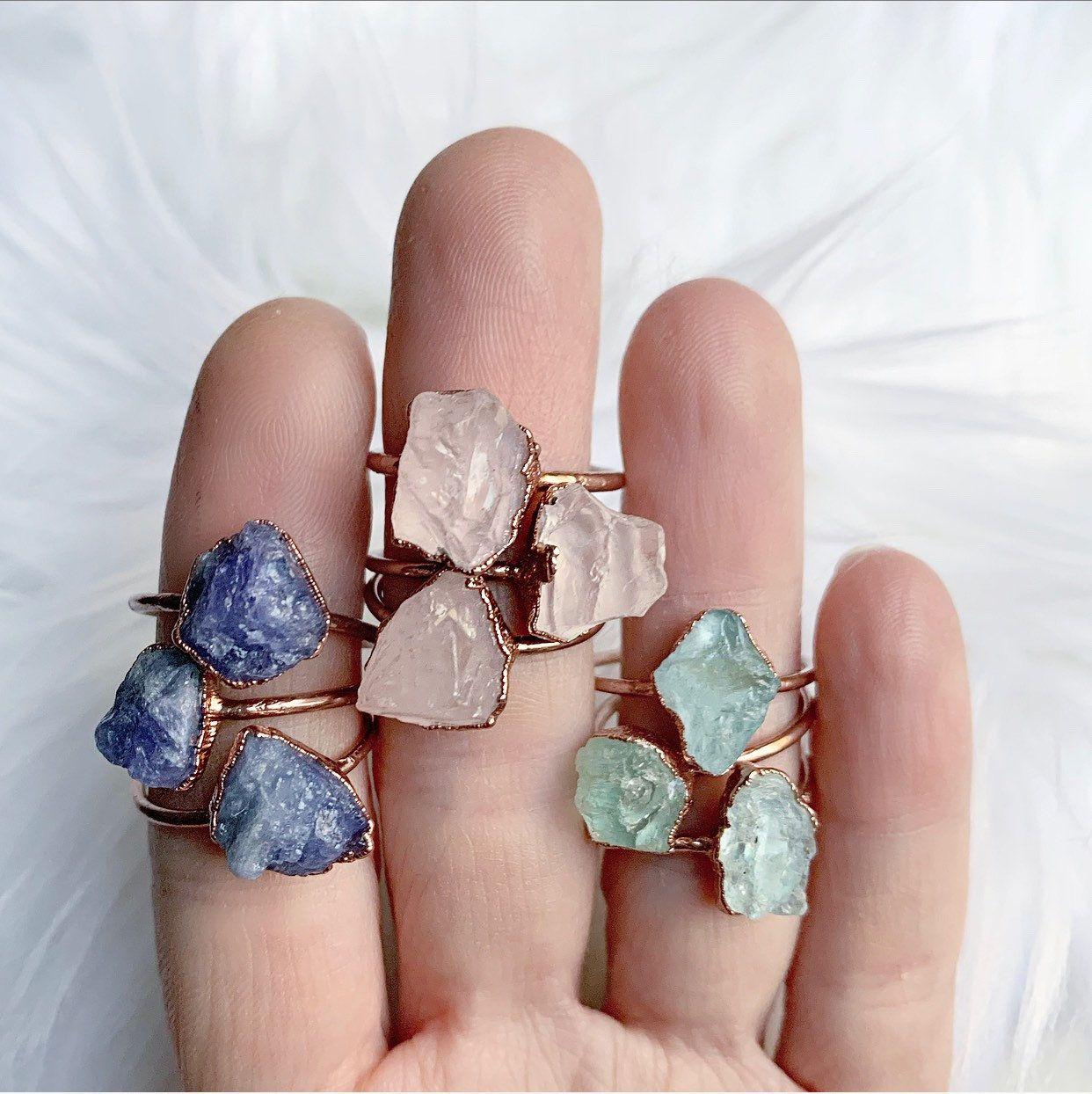 Raw Rose Quartz Ring Gift for Her Delicate Rose Quartz Stone ...