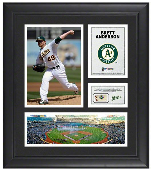 Brett Anderson Oakland Athletics Framed 15x17 Multi-Photo Collage with Game Used Baseball