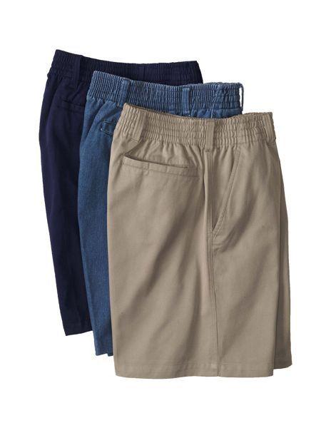Mens Elastic Waist Khaki Shorts