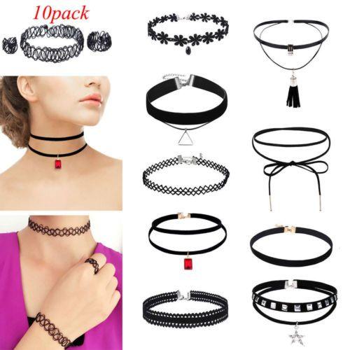 Women/'s Gothic Punk Velvet Tattoo Lace Choker Collar Pendant Necklace
