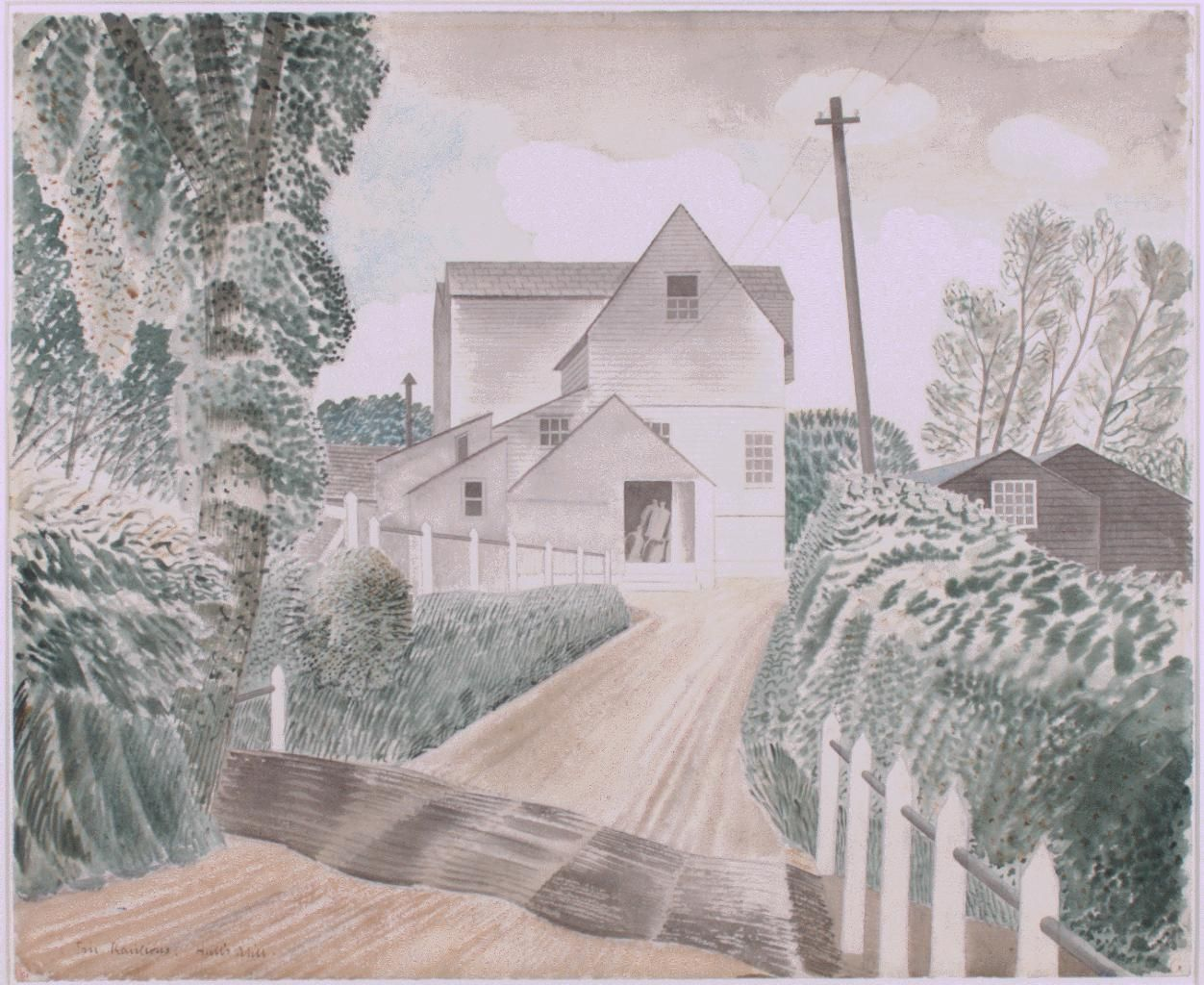 Fine Art Greeting Card Eric Ravilious Farm House and Field