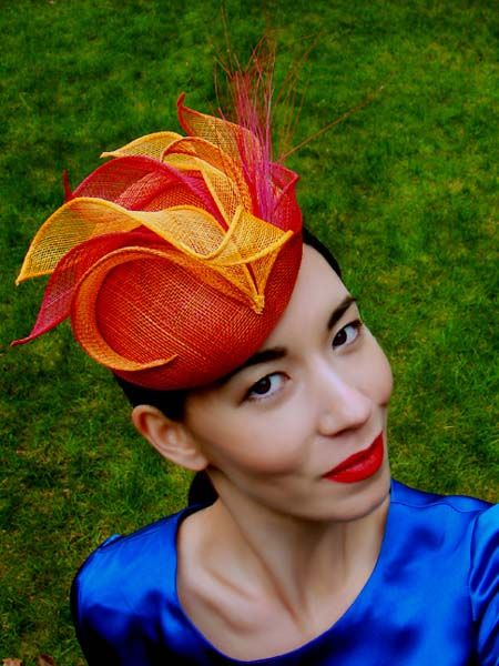 SIROCCO - small two-tone sinamay beret with hand-rolled sinamay swirls and burnt peacock stamens. GBP 260.00.