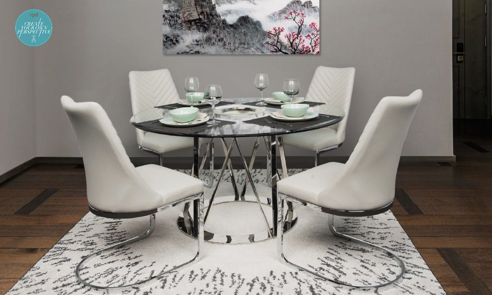 Silver Gray Monochrome Dining Set Featuring Latest Kyla Cantilever Chair In Gray Tone Coupled With Rolin With T Wholesale Furniture Furniture Home Furniture