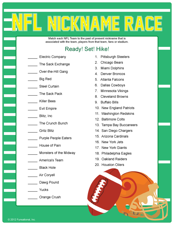 NFL Nickname Race - Football Games for that trophy! arrival activity facing  the giants 85d713f68