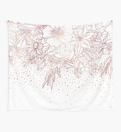 Elegant Rose Gold Mandala Confetti Design Wall Tapestry By Inovarts