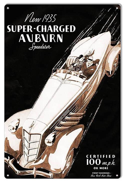 Auburn Speedster Classic Car Reproduction Garage Art Metal Sign