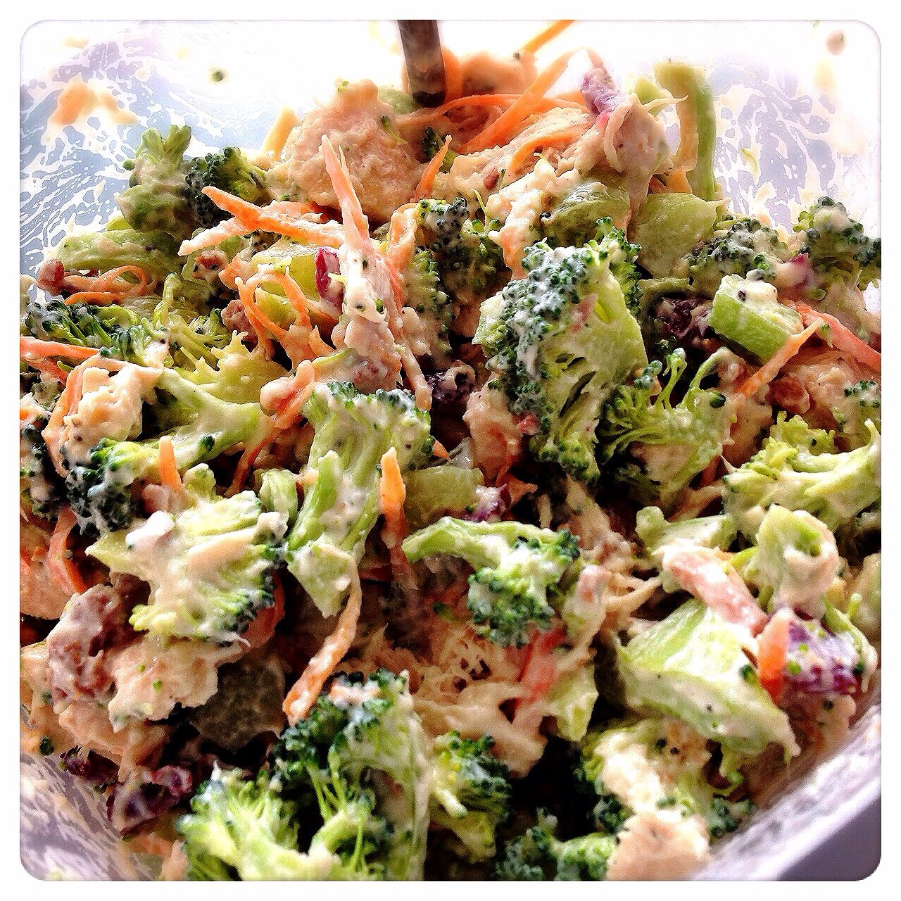 Wanted to pre-make something for the week that is fulfilling & healthyish so I made this: Chicken broccoli salad! Rotisserie chicken, broccoli, carrots, dried cranberries, celery, grapes, ground mustard, Greek yogurt, apple cider vinegar, grape seed oil, sugar, & pepper.