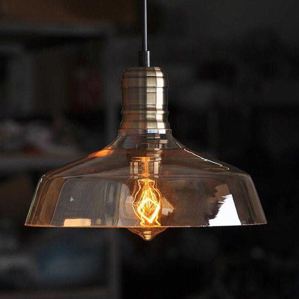 Moderne Vintage Retro Industrie Loft Glasdeckenlampenschirm Pendelleuchte Bernstein Amazon De Beleuchtung Edison Lampe Beleuchtung Decke Vintage Gluhbirne