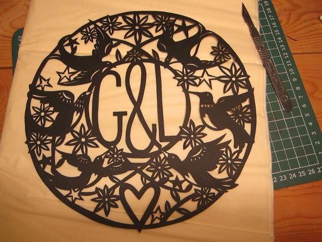 Papercut initials by Poppy Chancellor #papercut #handmade #craft #valentines www.poppychancellor.com