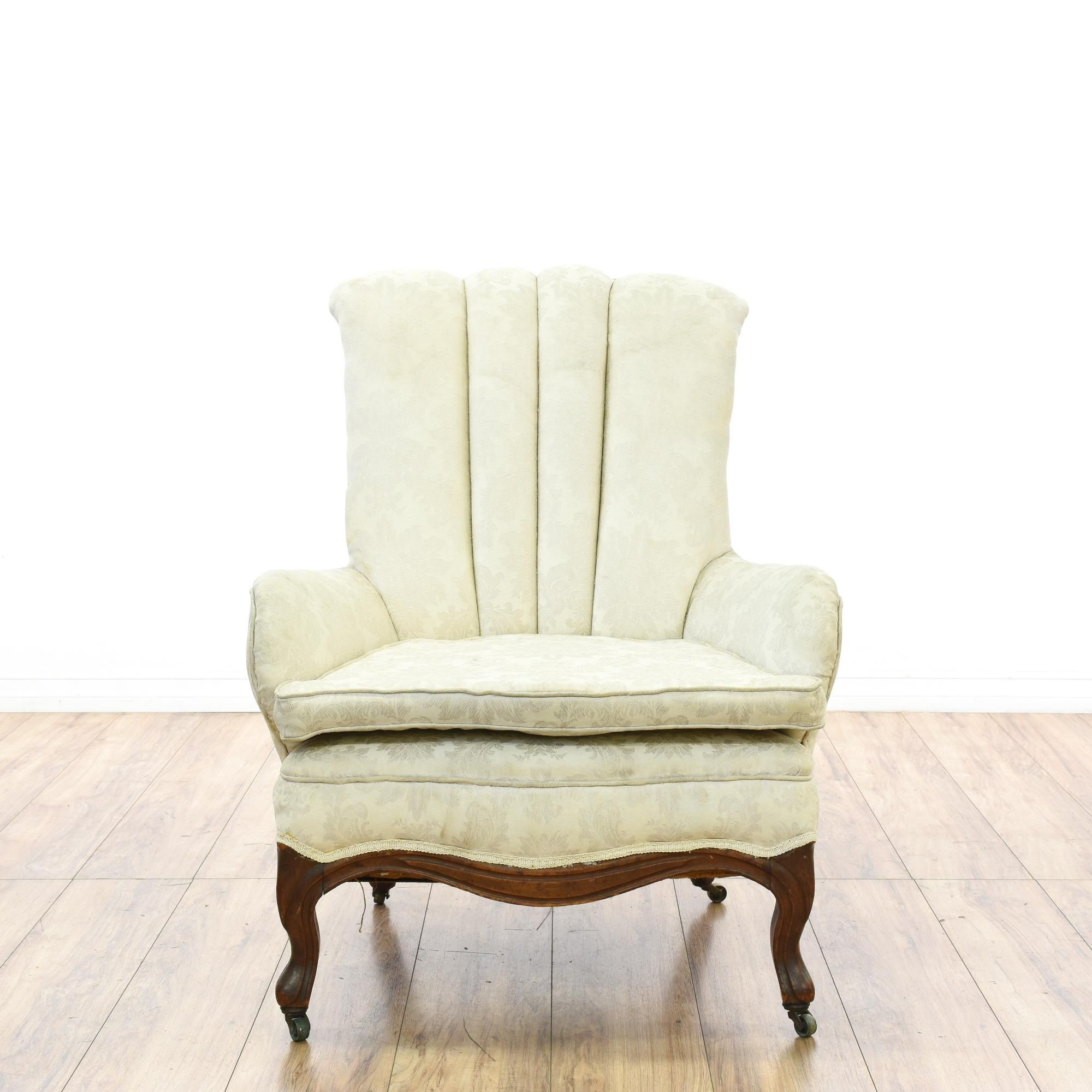 Cream Floral Channel Back Accent Chair