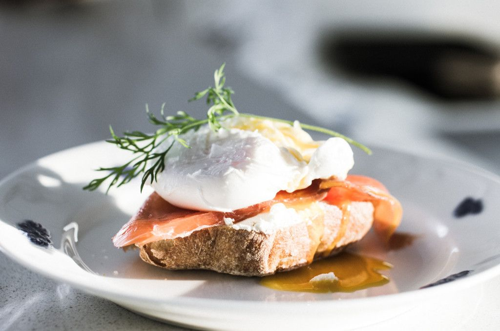Bread, salmon and poached egg www.nordicatmosphere.com