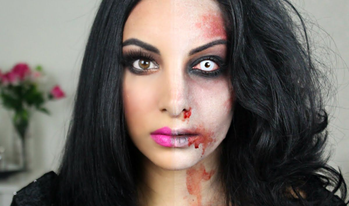 Half Zombie Halloween Makeup Tutorial | Make Up | Pinterest ...