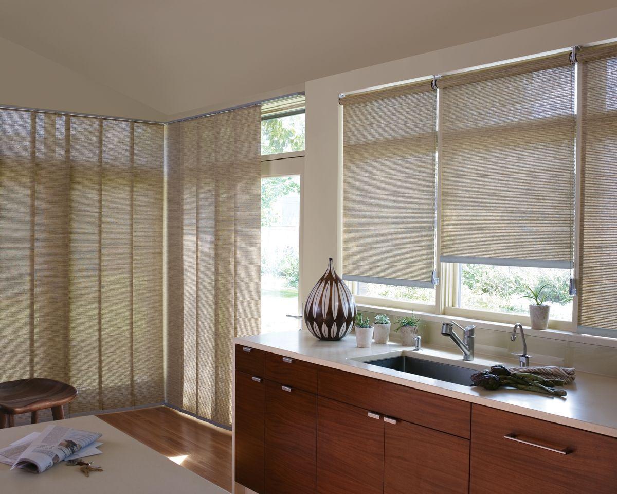 Kitchen window kitchen blinds  hunterdouglas alustra woven roller shade  the exclusive hunter