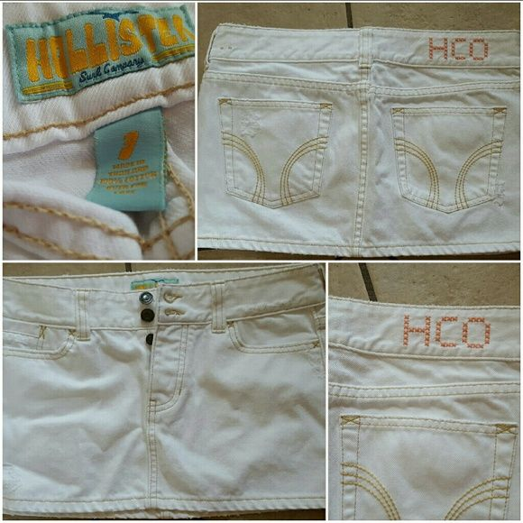 NWOT HOLLISTER ABERCROMBIE WHITE MINI SKIRT SIZE 3 New without tags!BRAND NEW NEVER WORN  Size 3!  Has light distressed effect around pocket :) pink hco logo on back  OPEN TO ALL OFFERS! Hollister Skirts Mini