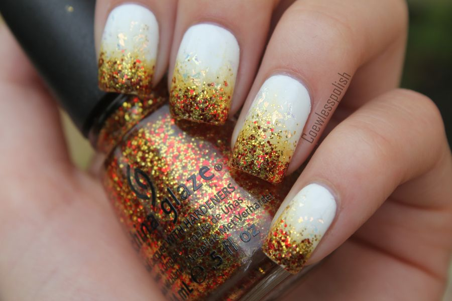 The white is Max Factor Snow White, the gold is A England Holy grail and gitteren is china glaze electrify : D